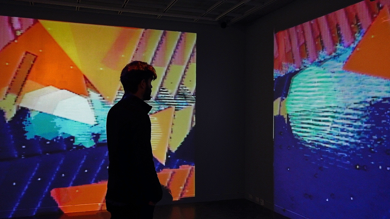 installation view of jets to codie with man