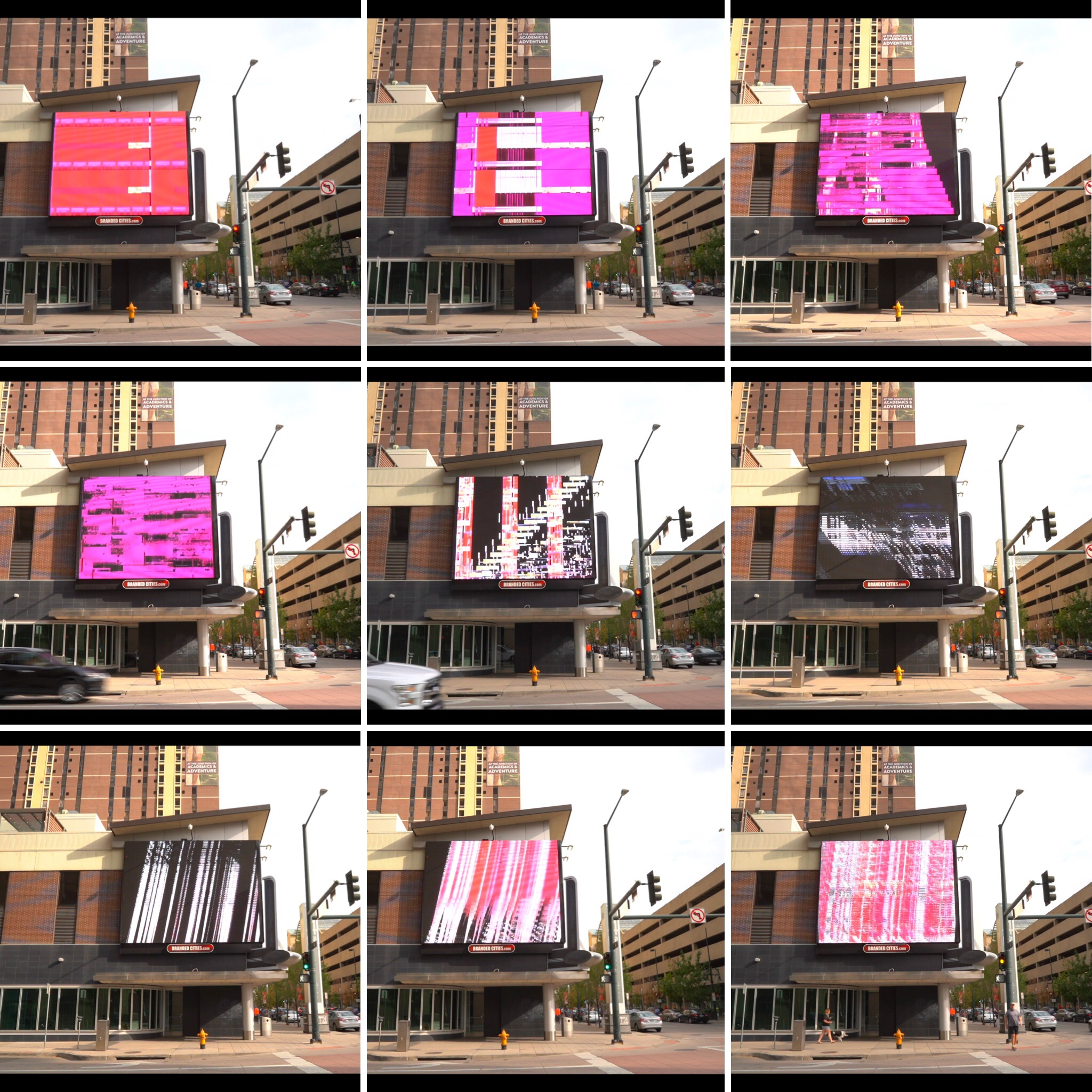 still showing installation view of weather currents on billboard